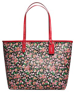Coach Satchel 36126 57669 Tote in SILVER/PINK MULTI BRIGHT RED