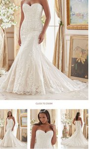 Mori Lee White Embroidered Lace Appliques On Tulle 3207 Formal Wedding Dress Size 12 (L)