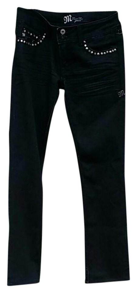 751723c10bd96 Miss Me Black Dark Rinse Buckle Straight Leg Jeans. Size  28 (4 ...