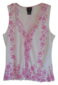 INC International Concepts Top white and pink floral