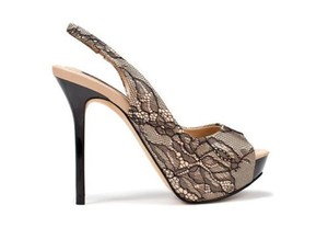 Zara Lace Cocktail New With Tags Party Platform Black + Nude Pumps