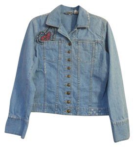 Chico's Size 0 100% Cotton Distressed Denim with embroidery heart designs Womens Jean Jacket