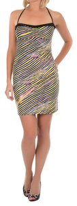 Just Cavalli short dress Black and Yellow Summer Made In Italy Mini Tight on Tradesy
