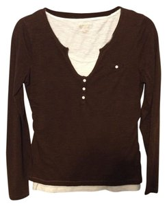 New Directions Top Brown & Ivory
