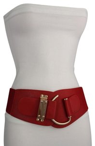 Other Women Fashion Gold Metal Hook Buckle Red Belt High Waist Hip Regular