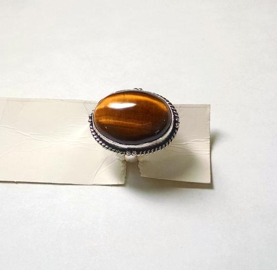 Other New Tiger's Eye Gemstone Ring Size 8 Large Stone 925 Silver J753
