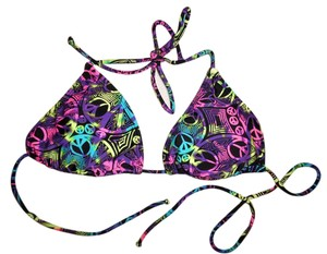OP Peace Signs Print Fluorescent Colors String Triangle Bikini Top