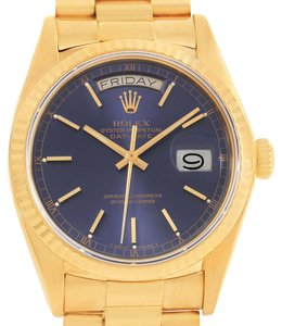 Rolex Rolex President Day-Date Mens 18k Yellow Gold Blue Dial Watch 18038