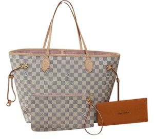 Louis Vuitton Lv Neverfull Mm Neverfull Gm Tote in Damier Azur with ROSE BALLERINE