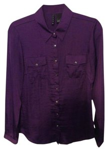 New Directions Button Down Shirt Purple