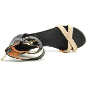 Rebecca Minkoff Slip On Strappy Ankle Wrap Leather Nude + Black Flats