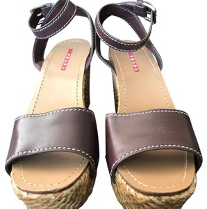 Prada Dark brown leather with stitched woven Wedges
