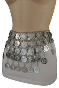 Other Women Ethnic Fashion Hip Belt Silver Metal Big Coin Charm Long Skirt