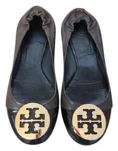 Tory Burch Gold Brown and Black Flats