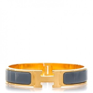 Herms Gold-tone Hermes Grey enamel Narrow Clic Clac H lock Bracelet