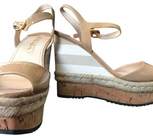 Prada Nude, white and nude stripes, espadrille cork Wedges