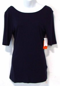 Three Dots Low Back Navy Top Blue
