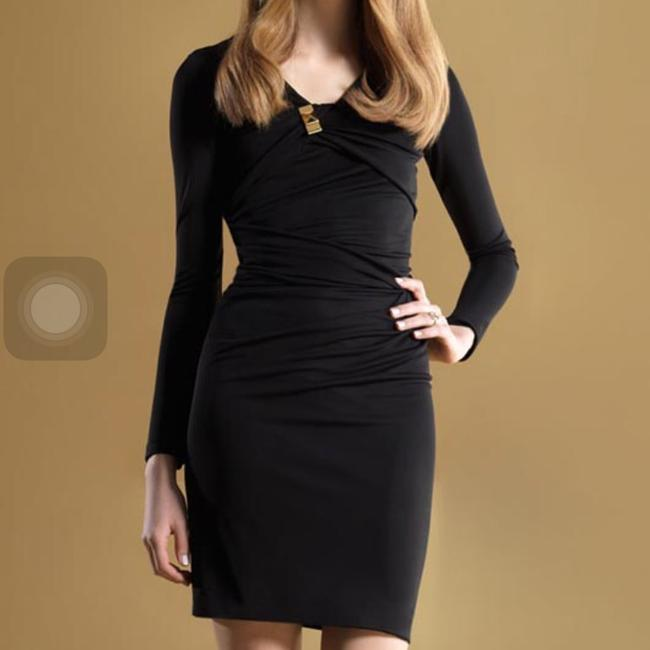 Item - Black Gold Detail Long Sleeve V-neck Gathered with Metal Stud Mid-length Cocktail Dress Size 2 (XS)