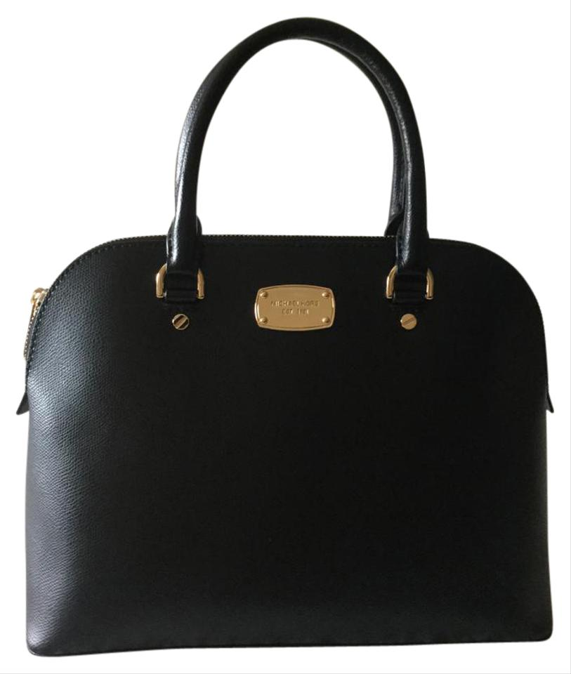 Michael Kors Cindy Large Dome Black Saffiano Leather Satchel - Tradesy e0d8972a23