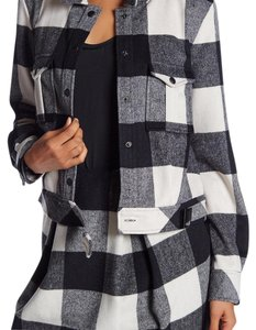 Zac Posen Gingham Bomber Plaid Crop Fall Black and Cream Jacket