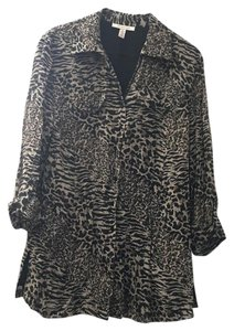 JM Collection Button Down Shirt Animal Print