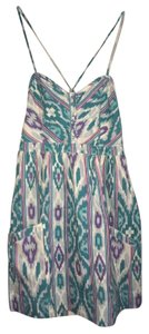 American Eagle Outfitters short dress teal purple pink white & sky blue Southwest inspired pattern on Tradesy