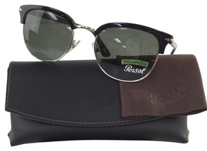 Persol Polarized Hand Made Brand New Clubmaster Silver Black Plastic Metal Sunglasses 145mm