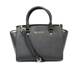 Michael Kors Leather Selma Satchel in Black