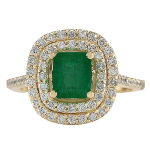 Fashion Strada 2.33CTW Natural Emerald And Diamond Ring In 14K Yellow Gold