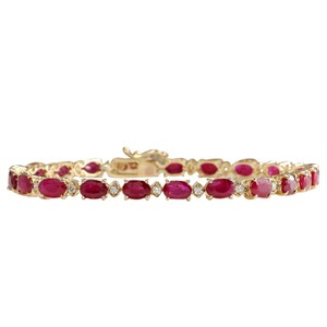 Fashion Strada 11.95CTW Natural Red Ruby And Diamond Bracelet In 14K Yellow Gold