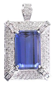 Other 18Kt Emerald Cut Gem Tanzanite & Diamond White Gold HUGE PENDANT 28.27