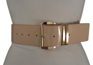 Other Women Fashion Belt Hip Shiny Beige Faux Patent Leather Metal Buckle