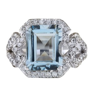 Fashion Strada 4.26CTW Natural Aquamarine And Diamond Ring In 14K White Gold