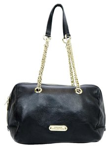 Versace Collection Leather Gold Hardware Stylish Tote in Black
