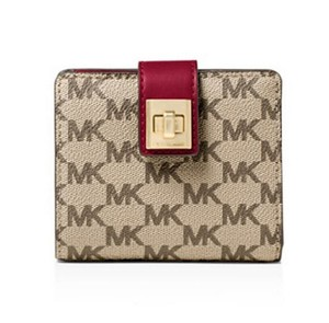 Michael Kors MICHAEL KORS Studio Signature Natalie Medium Wallet -Cherry