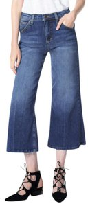 JOE'S Gaucho High Rise Blue Denim Trouser/Wide Leg Jeans-Medium Wash