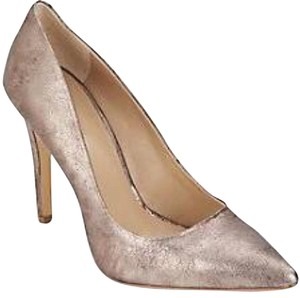 Saks Fifth Avenue Bronze Metallic Pointed Toe Pewter Gold Pumps