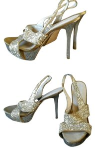 Nine West Glitter Stillettos High Heels 8.5 Platform Gold Formal