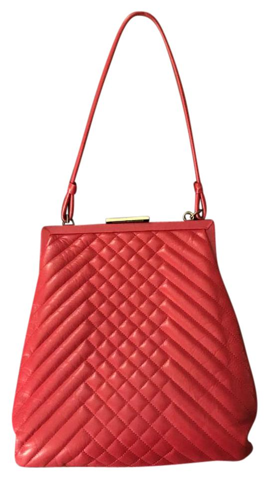 Cynthia Rowley Jolie Quilted Handbag Red Leather Clutch 63 Off Retail