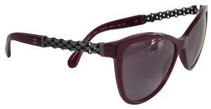 Chanel Cateye Burgundy Silver Logo Plastic Metal 5326 C 1528/S1 Sunglasses 140mm