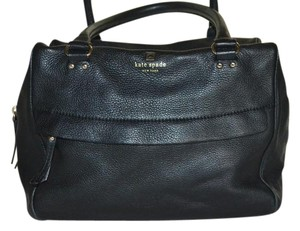 Kate Spade Leather Handbag Gold Satchel in black