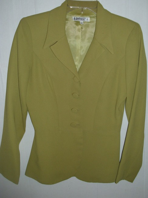 Rampage Lined Small Classic Fitted Tailored Olive Blazer Image 2