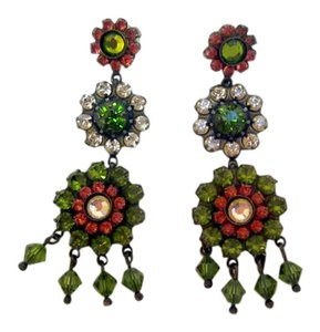 Sorrelli Swarovski Crystal Chandelier Earrings Pink and Green Antique Bronze