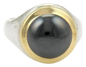 Tiffany & Co. 18k Yellow Gold & Sterling Silver Hematite Ring Size 5.5