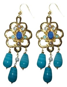 Gerard Yosca Yosca Large Blue Crystal Rhinestone Gold Plated Chandelier Earrings