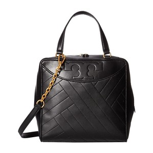 Tory Burch Leather Alexa Satchel in Black