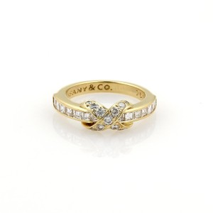 Tiffany & Co. 1.25ct Diamonds 18k Yellow Gold X Crossover Ring Size 5.5