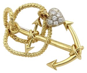 Tiffany & Co. Diamonds 18k Gold Anchor & Rope Brooch Pin