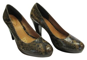 Flexi Leather Reptile Design Size 8.00 M Very Good Condition Brown, Black, Pumps
