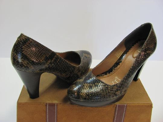 Flexi Leather Reptile Design Size 8.00 M Very Good Condition Brown, Black, Pumps Image 1
